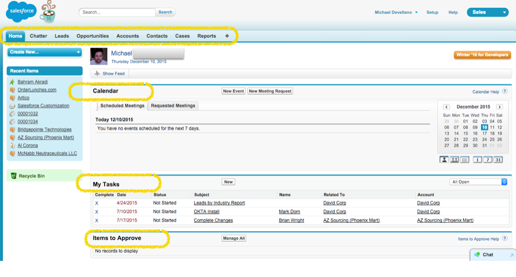 Salesforce Logged In View of Home Screen